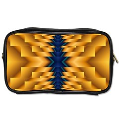 Plaid Blue Gold Wave Chevron Toiletries Bags 2 Side by Mariart