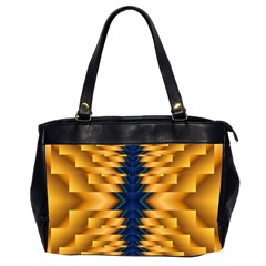 Plaid Blue Gold Wave Chevron Office Handbags (2 Sides)  by Mariart