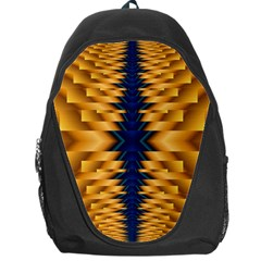 Plaid Blue Gold Wave Chevron Backpack Bag by Mariart
