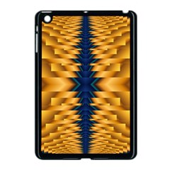 Plaid Blue Gold Wave Chevron Apple Ipad Mini Case (black) by Mariart