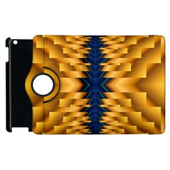 Plaid Blue Gold Wave Chevron Apple Ipad 3/4 Flip 360 Case by Mariart