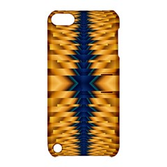 Plaid Blue Gold Wave Chevron Apple Ipod Touch 5 Hardshell Case With Stand by Mariart