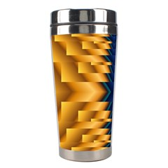 Plaid Blue Gold Wave Chevron Stainless Steel Travel Tumblers by Mariart