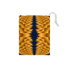 Plaid Blue Gold Wave Chevron Drawstring Pouches (small)  by Mariart