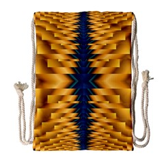 Plaid Blue Gold Wave Chevron Drawstring Bag (large) by Mariart