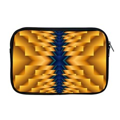 Plaid Blue Gold Wave Chevron Apple Macbook Pro 17  Zipper Case by Mariart