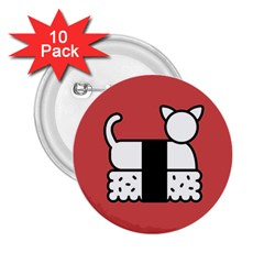 Sushi Cat Japanese Food 2 25  Buttons (10 Pack)