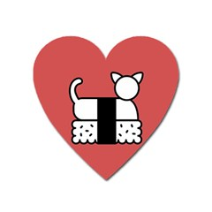 Sushi Cat Japanese Food Heart Magnet by Mariart