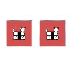 Sushi Cat Japanese Food Cufflinks (square) by Mariart