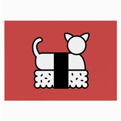 Sushi Cat Japanese Food Large Glasses Cloth (2 Side) by Mariart