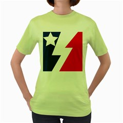 Three Colors Blue White Line Star Women s Green T Shirt by Mariart