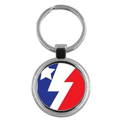 Three Colors Blue White Line Star Key Chains (round)  by Mariart