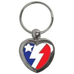 Three Colors Blue White Line Star Key Chains (heart)  by Mariart