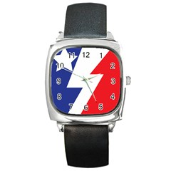 Three Colors Blue White Line Star Square Metal Watch by Mariart
