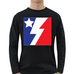 Three Colors Blue White Line Star Long Sleeve Dark T Shirts by Mariart