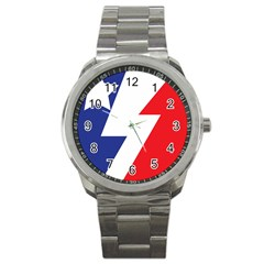Three Colors Blue White Line Star Sport Metal Watch by Mariart
