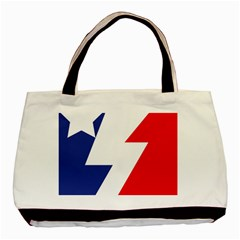 Three Colors Blue White Line Star Basic Tote Bag (two Sides) by Mariart