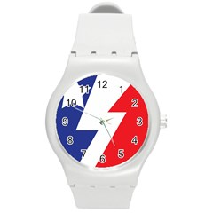 Three Colors Blue White Line Star Round Plastic Sport Watch (m) by Mariart