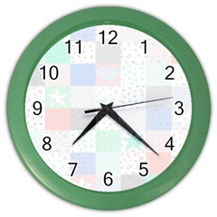 Sweet Dreams Rag Quilt Color Wall Clocks by Mariart