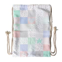 Sweet Dreams Rag Quilt Drawstring Bag (large) by Mariart
