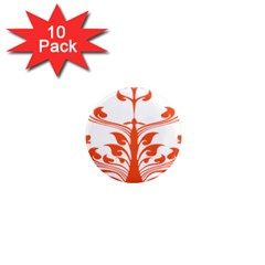 Tree Leaf Flower Orange Sexy Star 1  Mini Magnet (10 Pack)  by Mariart