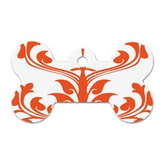 Tree Leaf Flower Orange Sexy Star Dog Tag Bone (one Side) by Mariart