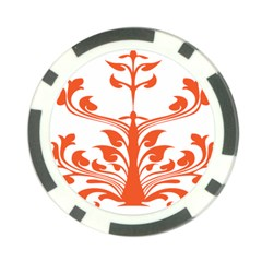 Tree Leaf Flower Orange Sexy Star Poker Chip Card Guard by Mariart