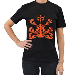 Tree Leaf Flower Orange Sexy Star Women s T-shirt (black) by Mariart