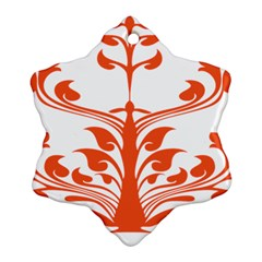 Tree Leaf Flower Orange Sexy Star Ornament (snowflake) by Mariart