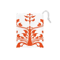 Tree Leaf Flower Orange Sexy Star Drawstring Pouches (small)  by Mariart