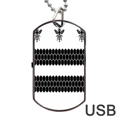 Wasp Bee Hive Black Animals Dog Tag Usb Flash (two Sides) by Mariart