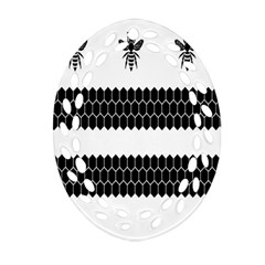 Wasp Bee Hive Black Animals Oval Filigree Ornament (two Sides) by Mariart