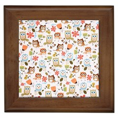Cute Owl Framed Tiles by Nexatart