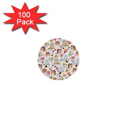 Cute Owl 1  Mini Buttons (100 Pack)  by Nexatart