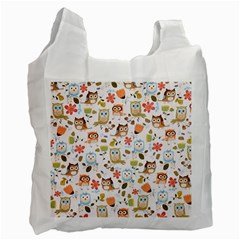 Cute Owl Recycle Bag (one Side) by Nexatart
