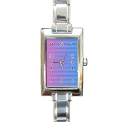Turquoise Pink Stripe Light Blue Rectangle Italian Charm Watch by Mariart