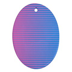 Turquoise Pink Stripe Light Blue Ornament (oval) by Mariart