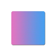 Turquoise Pink Stripe Light Blue Square Magnet by Mariart