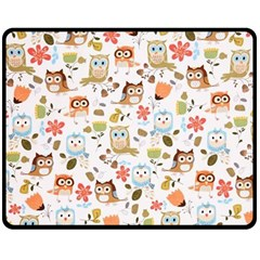 Cute Owl Double Sided Fleece Blanket (medium)  by Nexatart