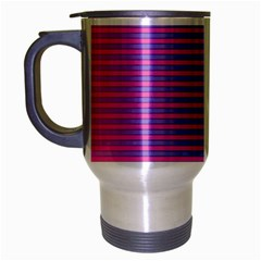 Turquoise Pink Stripe Light Blue Travel Mug (silver Gray) by Mariart