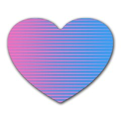 Turquoise Pink Stripe Light Blue Heart Mousepads by Mariart