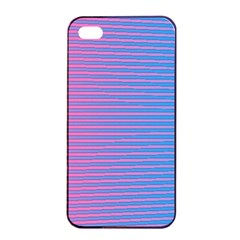 Turquoise Pink Stripe Light Blue Apple Iphone 4/4s Seamless Case (black) by Mariart