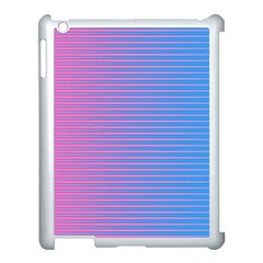Turquoise Pink Stripe Light Blue Apple Ipad 3/4 Case (white) by Mariart