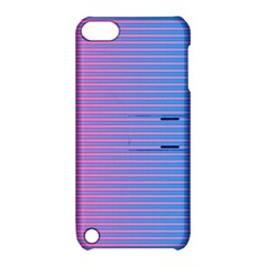 Turquoise Pink Stripe Light Blue Apple Ipod Touch 5 Hardshell Case With Stand by Mariart