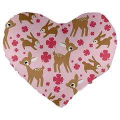 Preety Deer Cute Large 19  Premium Flano Heart Shape Cushions by Nexatart
