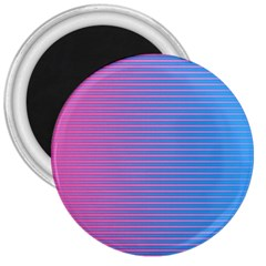 Turquoise Pink Stripe Light Blue 3  Magnets