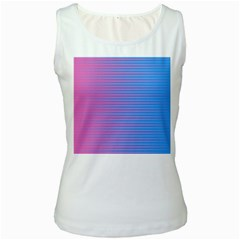 Turquoise Pink Stripe Light Blue Women s White Tank Top by Mariart