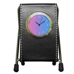 Turquoise Pink Stripe Light Blue Pen Holder Desk Clocks by Mariart