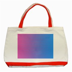 Turquoise Pink Stripe Light Blue Classic Tote Bag (red) by Mariart