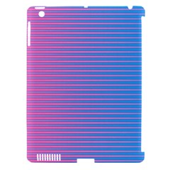 Turquoise Pink Stripe Light Blue Apple Ipad 3/4 Hardshell Case (compatible With Smart Cover) by Mariart